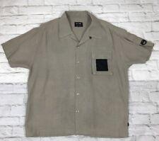 BC Ethic Mens Beige Black Short Sleeve Shirt L USA Gusset Pocket Bowling
