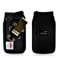 TracFone ZTE Cymbal T Flip Phone Fitted Case Black Nylon Metal Clip Turtleback