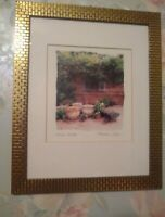 """Maureen Love Original Art Print """"Garden Window"""" Matted and Framed in Gold Brick"""