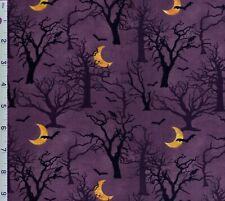 Spooky Nights Purple Forest Cotton Fabric 3 Wishes Bats Black Halloween Moon