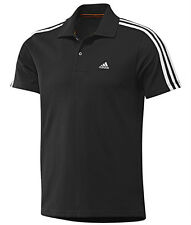 Nuevo Para Hombre Adidas Essentials Climalite 3 Rayas Camisa Polo T-shirt - Negro