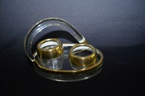 c.1930's Rare Art Deco Brass Fitting Oval Service Tray with Glass and Sugar Bowl
