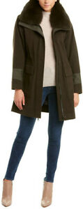 Trina Turk Women's Genuine Fox Fur Trim Whitney Wool-Blend Coat UK Size 4 Olive