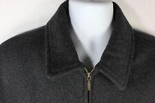 Mens Black Wool Jacket Coat Zippered Aberdeen Size Large Peacoat Style