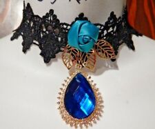 b67564a1f864 Cerceta Azul Encaje Negro Gargantilla Gótico Burlesque Doradas Rosas Collar