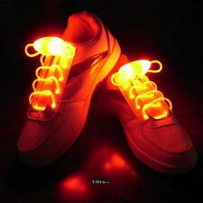 Orange Coloured LED Bright light up waterproof shoelaces for trainers shoes