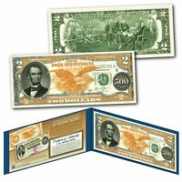 1882 Series Abraham Lincoln $500 Gold Certificate designed on a Real $2 Bill