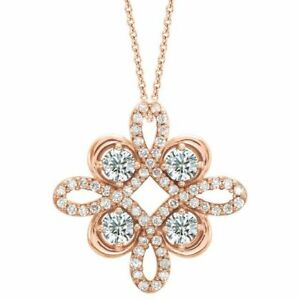 """Diamond Clover 18"""" Necklace In 14K Rose Gold (3/8 CTW)"""