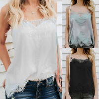 Women Summer Tank Tops Lace Sexy Vest Blouse Camisole Sleeveless Casual T-Shirt