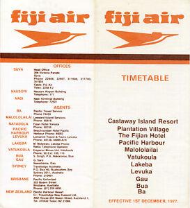 FIJI AIR TIMETABLE 1 DECEMBER 1977