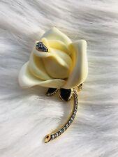 KENNETH JAY LANE Rose Flower BROOCH/PIN Ivory  LUCITE Enamel RHINESTONE VTG KJL