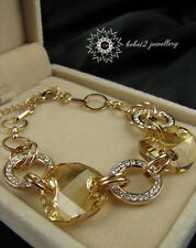 Golden Brown Crystal/Large Crystal Bracelet/Rose gold/RGB037G