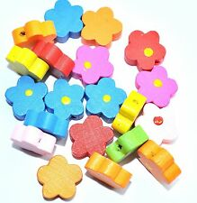 20pcs assorted flower wood beads 15mm ideal for children jewels