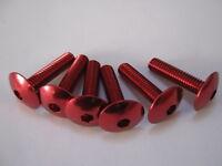 M6 x 30 mm button head socket cap bolt, red anodised
