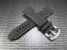 24mm Top Black Rubber Diver Strap White Stitch Watch Band Pam 1950 X1 WH