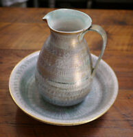Vintage Mid Century Stangl Pitcher 3975 Bowl 3229 Gold Aqua Redware Pottery