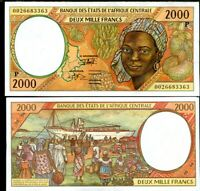 CENTRAL AFRICAN STATE CHAD 2000 FRANCS 2000 P 603 Pg UNC