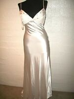 NWOT  Sean Collection Tie Back  Beaded Satin Gown $288 `White` Size  2