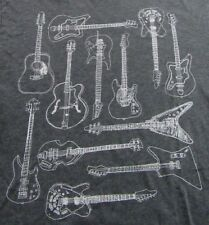 Old Navy Assorted Electric And Acoustic GUITARS Musicians SS T Shirt Size L
