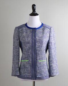 ELIE TAHARI $298 Tweed Woven Neon Trim Lined Snap Up Jacket Top Size 4