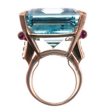 Natural Aquamarine Ring Wedding Ring Emerald Cut Blue 14K Rose Gold For Lovers