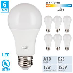 6 Pack LED Bulbs 15W 100W 120V A19 E26 NonDimmable 1500 Lumen 5000k Bright White