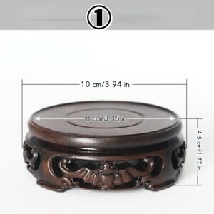 Round Ebony Pedestal Wood Carving Teapot Base Buddha Flowerpot Display Stand New