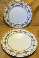 "Rare Set of 2 Tharaud LIMOGES Medaillon Floral Pattern 8.5"" Salad Plate - France"