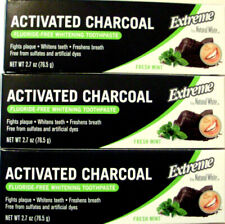 3 Natural White ACTIVATED CHARCOAL Flouride Free Toothpaste 2.7oz Fresh Mint NIB