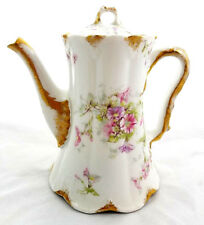 Antique 1900s Theodore Haviland Limoges France Pink Purple Floral Coffee Pot