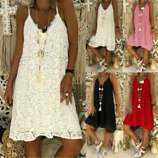 Womens Lace Crochet Strappy Dress Ladies Summer Holiday Beach Sundress Plus Size
