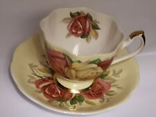 Queen Anne Tea Cup And Saucer Large Pink Cabbage Roses