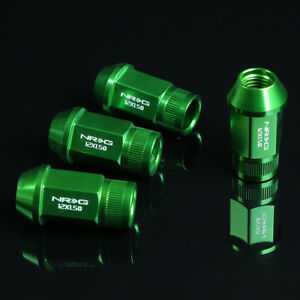 NRG ANODIZED ALUMINUM OPEN END TUNER WHEEL RIM LUG NUTS LOCK M12x1.5 GREEN 4 PC