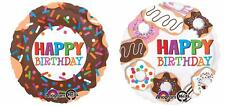 Set of 2 Donut Happy Birthday Balloons POLICE SUgar SWEET Pastry FREE SHIPPING