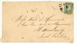 CONFEDERATE STATES OF AMERICA--Cover franked with Scott #11 sent to Hamburg, S,C
