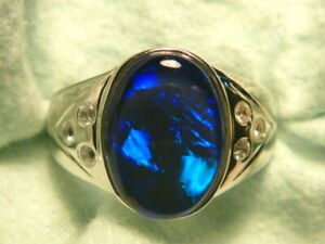 Mens Opal Ring Sterling Silver, Natural Opal Triplet. 14x10mm Oval . item 150643