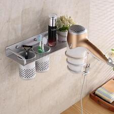 Hair Dryer Stand Storage Organizer Rack Holder Hanger Wall Bathroom Set Sliver
