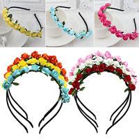 JW_ Women Rose Flower Crown Festival Headband Wedding Garland Floral Hairband