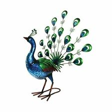 Peacock Garden Ornament Outdoor Decoration Shiny Painted Metal Handmade Fan Tail Ar12793 Stand