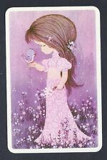 #920.247 Blank Back Swap Card -EXC- Joy, Girl with bird, pink/purple tones