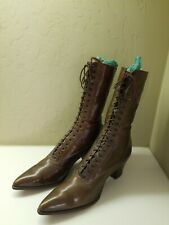 Vintage Womens early 1900's Hi Top Lace Up Shoes~Brown Leather~Victorian