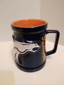 NFL Officially Licensed Denver Broncos 3D Coffee Mug / Stein Dark Blue Orange