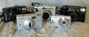Sony Fujifilm Canon Mamiya Film and Digital Camera Lot for Parts or Repair