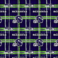 Fabric Seattle Seahawks NFL on Navy Blue Flannel by the 1/4 yard BIN