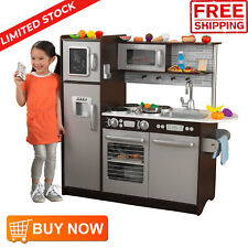 Kids Play Kitchen Accessories with 30 Pc Wooden Sturdy Pretend Play Food Cooking