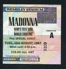 Who's That Girl Tour 1987 Madonna Concert Ticket Stub Wembley Stadium London