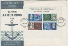 Stamps 1969 New Zealand Bicentenary Captain Cook mini sheet on official FDC