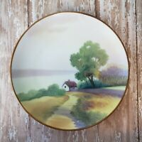 "Antique Nippon Cabinet Plate Hand Painted 6"" Porcelain Cabin Tree Decorative 6"""