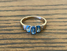 9ct Yellow Gold Ring With Natural Aquamarine And Diamonds Size P