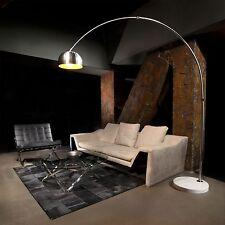 Lampada ad arco in alluminio con base rotonda in marmo Bianco F1034 BIANCO